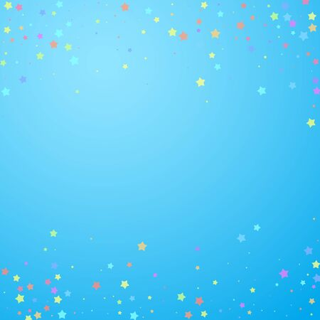Festive confetti. Celebration stars. Colorful stars random on blue sky background. Charming festive overlay template. Fetching vector illustration. Illustration