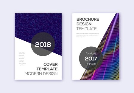 Modern cover design template set. Rainbow abstract lines on dark blue background. Extraordinary cover design. Splendid catalog, poster, book template etc.