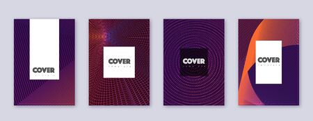 Hipster brochure design template set. Violet abstract lines on dark background. Amusing brochure design. Tempting catalog, poster, book template etc.
