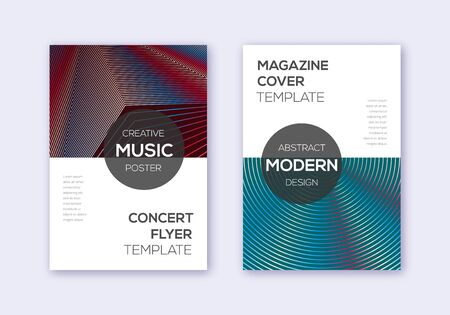 Modern cover design template set. Red white blue abstract lines on dark background. Exquisite cover design. Interesting catalog, poster, book template etc. Иллюстрация