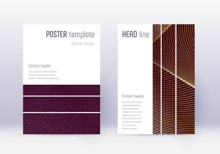Geometric cover design template set. Gold abstract lines on maroon background. Beautiful cover design. Exquisite catalog, poster, book template etc. Иллюстрация