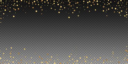 Sparse gold confetti luxury sparkling confetti. Scattered small gold particles on transparent background. Bewitching festive overlay template. Enchanting vector illustration.