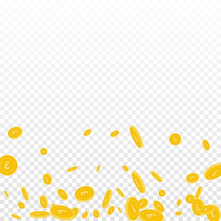 British pound coins falling. Scattered disorderly GBP coins on transparent background. Nice scatter bottom gradient vector illustration. Jackpot or success concept.
