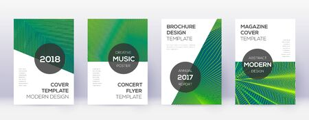 Modern brochure design template set. Green abstract lines on dark background. Awesome brochure design. Nice catalog, poster, book template etc.