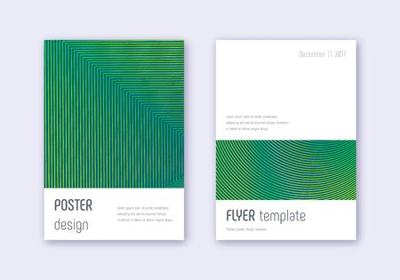 Minimalistic cover design template set. Green abstract lines on dark background. Ecstatic cover design. Neat catalog, poster, book template etc.  イラスト・ベクター素材