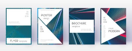 Stylish brochure design template set. Red abstract lines on white blue background. Bewitching brochure design. Exquisite catalog, poster, book template etc.
