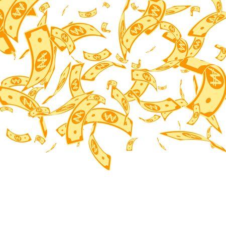 Korean won notes falling. Random WON bills on white background. Korea money. Delicate vector illustration. Mind-blowing jackpot, wealth or success concept.