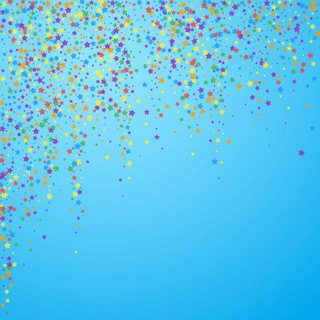 Festive confetti. Celebration stars. Rainbow bright stars on blue sky background. Charming festive overlay template. Sublime vector illustration.