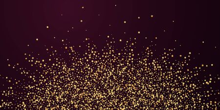 Gold stars luxury sparkling confetti. Scattered small gold particles on red maroon background. Authentic festive overlay template. Memorable vector illustration. 矢量图像