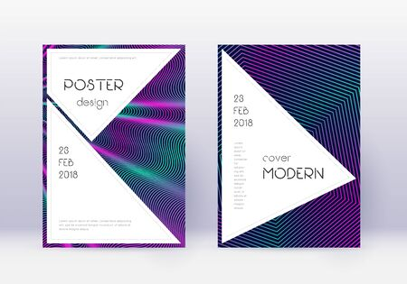 Stylish cover design template set. Neon abstract lines on dark blue background. Fancy cover design. Quaint catalog, poster, book template etc.