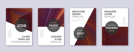 Modern brochure design template set. Orange abstract lines on wine-red background. Beauteous brochure design. Admirable catalog, poster, book template etc.