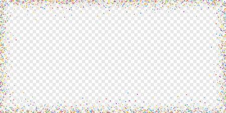 Festive confetti. Celebration stars. Childish bright stars on transparent background. Delightful festive overlay template. Magnificent vector illustration.