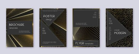 Black brochure design template set. Gold abstract lines on black background. Actual brochure design. Attractive catalog, poster, book template etc.