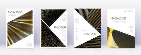 Triangle brochure design template set. Gold abstract lines on black background. Bold brochure design. Indelible catalog, poster, book template etc.