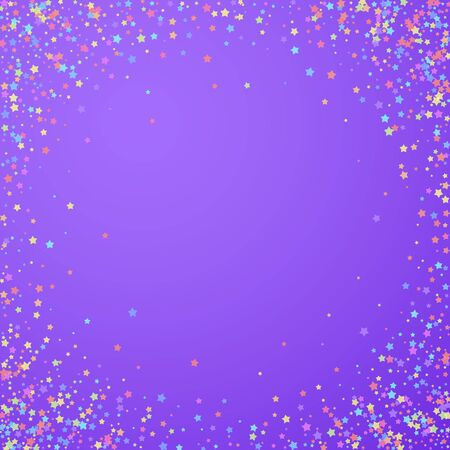 Festive confetti. Celebration stars. Colorful stars dense on bright purple background. Cool festive overlay template. Magnetic vector illustration. Illustration