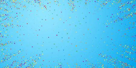 Festive confetti. Celebration stars. Rainbow confetti on blue sky background. Ecstatic festive overlay template. Pretty vector illustration.