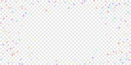 Festive confetti. Celebration stars. Colorful stars random on transparent background. Ecstatic festive overlay template. Unusual vector illustration. Ilustração