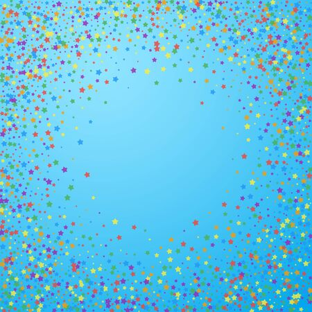 Festive confetti. Celebration stars. Rainbow bright stars on blue sky background. Cool festive overlay template. Fetching vector illustration.