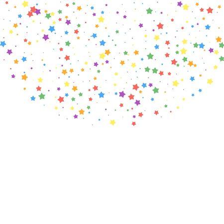 Festive confetti. Celebration stars. Joyous stars on white background. Comely festive overlay template. Fresh vector illustration.