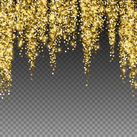 Sparkling gold luxury sparkling confetti. Scattered small gold particles on trasparent background. Alluring festive overlay template. Powerful vector illustration.