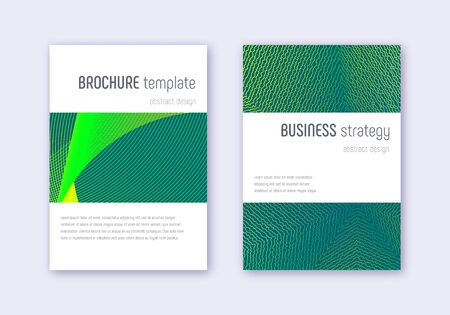 Minimalistic cover design template set. Green abstract lines on dark background. Enchanting cover design. Curious catalog, poster, book template etc.