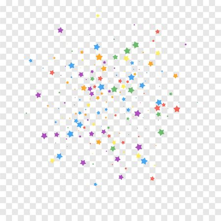 Festive confetti. Celebration stars. Joyous stars on transparent background. Brilliant festive overlay template. Magnificent vector illustration.