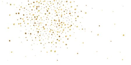 Sparse gold confetti luxury sparkling confetti. Scattered small gold particles on white background. Awesome festive overlay template. Fair vector illustration. Illustration