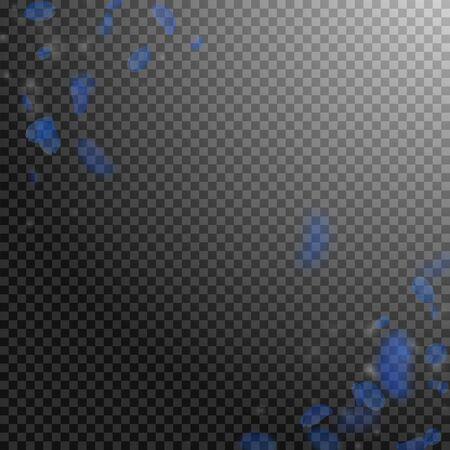 Dark blue flower petals falling down. Indelible romantic flowers corner. Flying petal on transparent square background. Love, romance concept. Alluring wedding invitation. Vettoriali