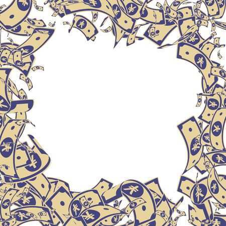 Chinese yuan notes falling. Messy CNY bills on white background. China money. Dramatic vector illustration. Creative jackpot, wealth or success concept.