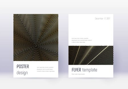 Minimalistic cover design template set. Gold abstract lines on black background. Dramatic cover design. Overwhelming catalog, poster, book template etc.