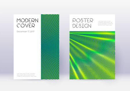 Minimal cover design template set. Green abstract lines on dark background. Cute cover design. Sublime catalog, poster, book template etc.