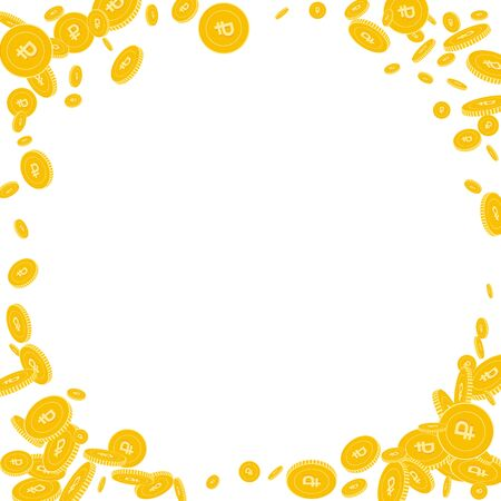 Russian ruble coins falling. Scattered disorderly RUB coins on white background. Shapely corner frame vector illustration. Jackpot or success concept.