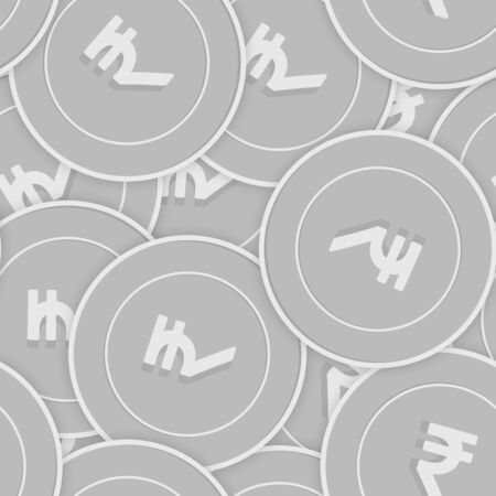 Indian rupee silver coins seamless pattern. Alive scattered black and white INR coins. Success concept. India money pattern. Coin vector illustration.