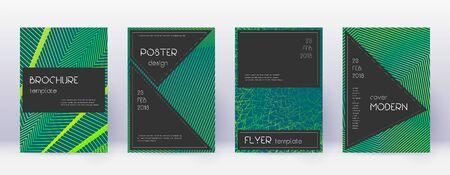 Black brochure design template set. Green abstract lines on dark background. Actual brochure design. Indelible catalog, poster, book template etc. Illusztráció