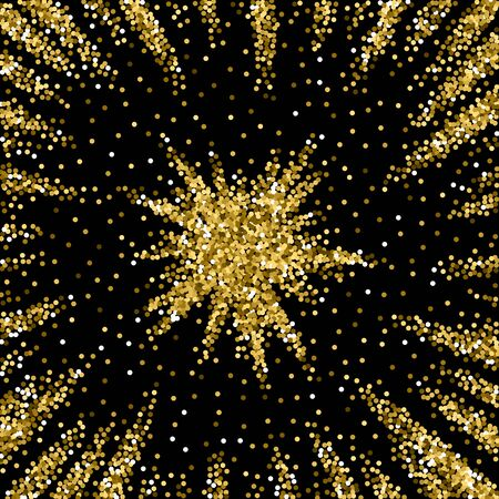Round gold glitter luxury sparkling confetti. Scattered small gold particles on black background. Actual festive overlay template. Eminent vector illustration.  イラスト・ベクター素材