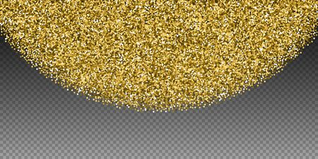 Round gold glitter luxury sparkling confetti. Scattered small gold particles on transparent background. Captivating festive overlay template. Stunning vector illustration.
