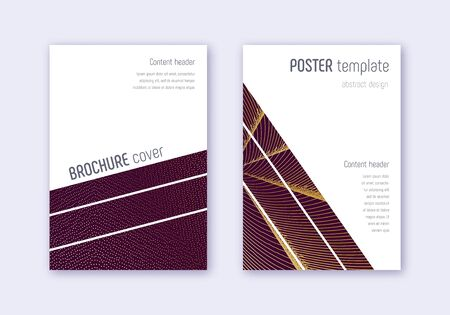 Geometric cover design template set. Gold abstract lines on maroon background. Bold cover design. Worthy catalog, poster, book template etc.