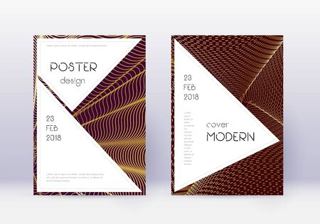 Stylish cover design template set. Gold abstract lines on maroon background. Fair cover design. Stunning catalog, poster, book template etc.