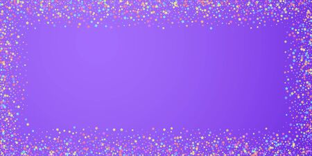 Festive confetti. Celebration stars. Colorful stars on bright purple background. Delightful festive overlay template. Exceptional vector illustration.