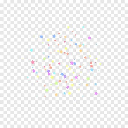 Festive confetti. Celebration stars. Colorful stars random on transparent background. Divine festive overlay template. Fabulous vector illustration.