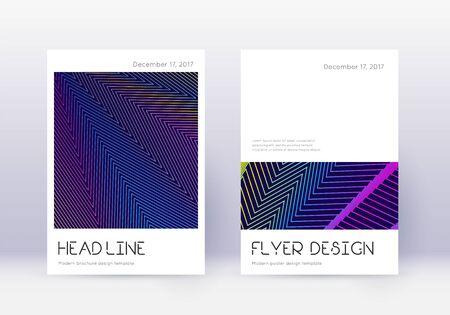 Minimal cover design template set. Rainbow abstract lines on dark blue background. Divine cover design. Exceptional catalog, poster, book template etc.
