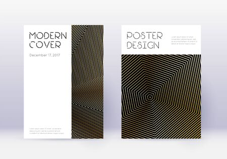 Minimal cover design template set. Gold abstract lines on black background. Curious cover design. Wonderful catalog, poster, book template etc.