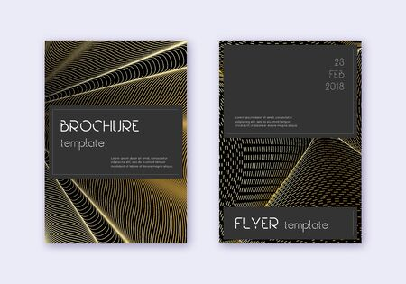 Black cover design template set. Gold abstract lines on black background. Alive cover design. Powerful catalog, poster, book template etc.  イラスト・ベクター素材