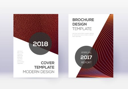 Modern cover design template set. Orange abstract lines on wine red background. Extraordinary cover design. Powerful catalog, poster, book template etc.