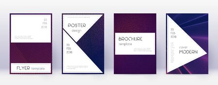 Stylish brochure design template set. Violet abstract lines on dark background. Bewitching brochure design. Incredible catalog, poster, book template etc.