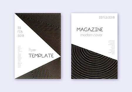 Triangle cover design template set. Gold abstract lines on black background. Impressive cover design. Amusing catalog, poster, book template etc.  イラスト・ベクター素材