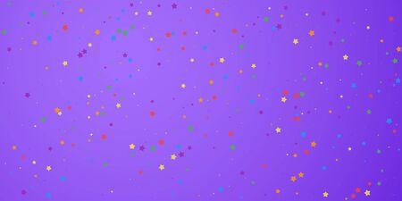Festive confetti. Celebration stars. Joyous stars on bright purple background. Delicate festive overlay template. Impressive vector illustration.
