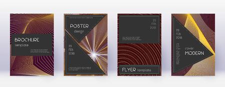Black brochure design template set. Gold abstract lines on bordo background. Actual brochure design. Extra catalog, poster, book template etc.