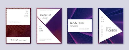 Stylish brochure design template set. Violet abstract lines on dark background. Bewitching brochure design. Fascinating catalog, poster, book template etc.