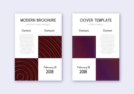 Business cover design template set. Orange abstract lines on wine red background. Artistic cover design. Outstanding catalog, poster, book template etc.  イラスト・ベクター素材
